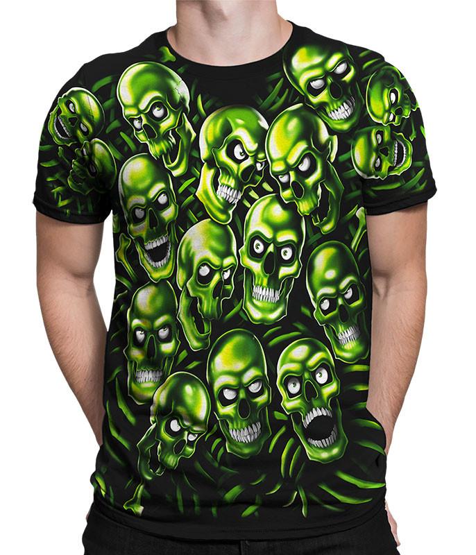 Skull Pile Green Black T-Shirt