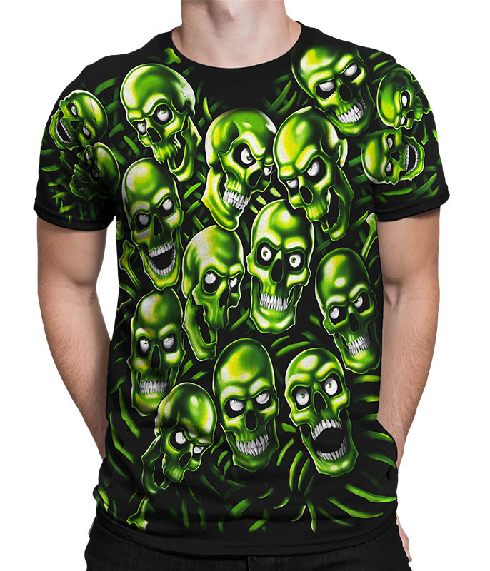 Skull Pile Green Black T-Shirt Tee Liquid Blue Juicy J Travis Scott