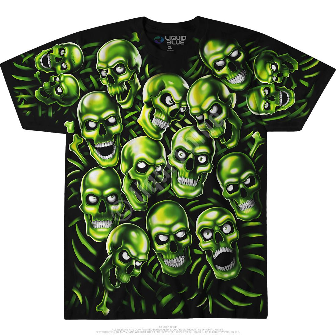 8e3e2fa7a1d Skull Pile Green Black T-Shirt Tee Liquid Blue Juicy J Travis Scott