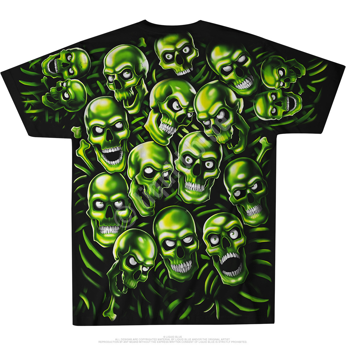 Skull Pile Green Black T-Shirt