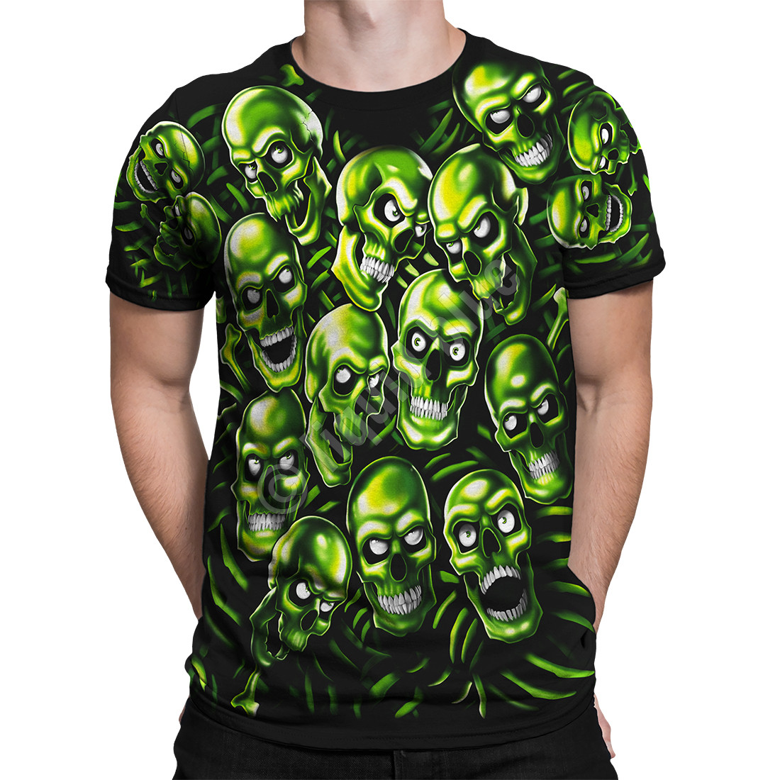 5248135c Skull Pile Green Black T-Shirt Tee Liquid Blue Juicy J Travis Scott