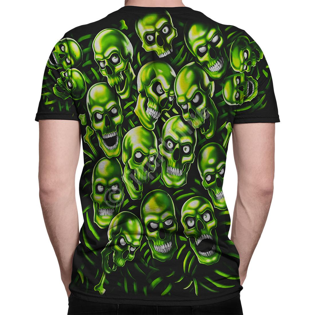 63d3e424 Skull Pile Green Black T-Shirt Tee Liquid Blue Juicy J Travis Scott