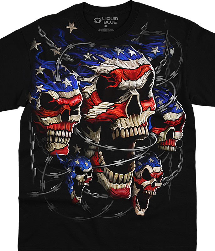 Skulls Patriotic Skulls Black T-Shirt Tee Liquid Blue