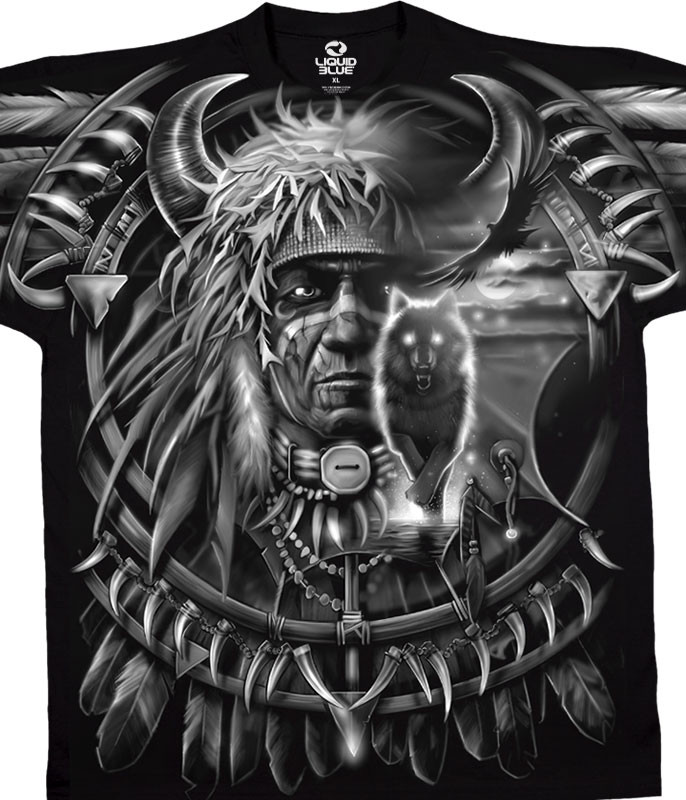 Dark Fantasy Wolf Dreamcatcher Black T-Shirt Tee Liquid Blue