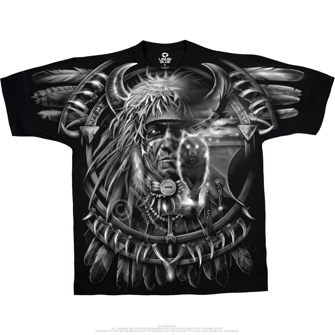 Wolf Dreamcatcher Black T-Shirt
