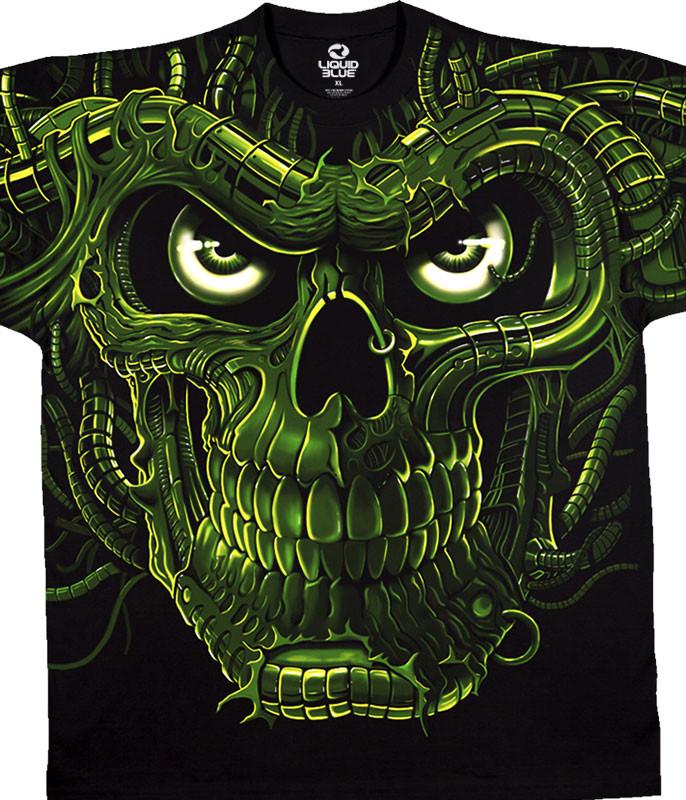 Skulls Terminator Skull Black T-Shirt Tee Liquid Blue