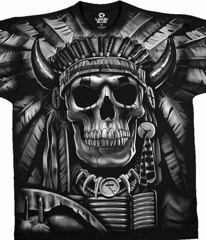 Indian Skull Black T-Shirt