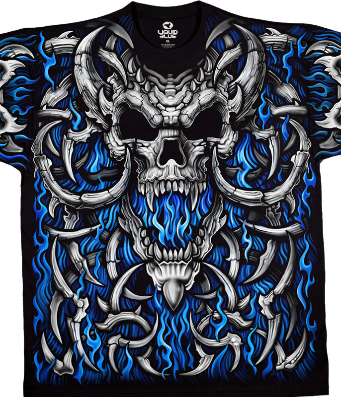 Skulls Blue Flame Skull Black T-Shirt Tee Liquid Blue