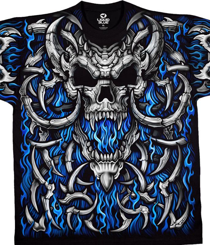 Skulls Blue Flame Skull Black T-Shirt Tee Liquid Blue