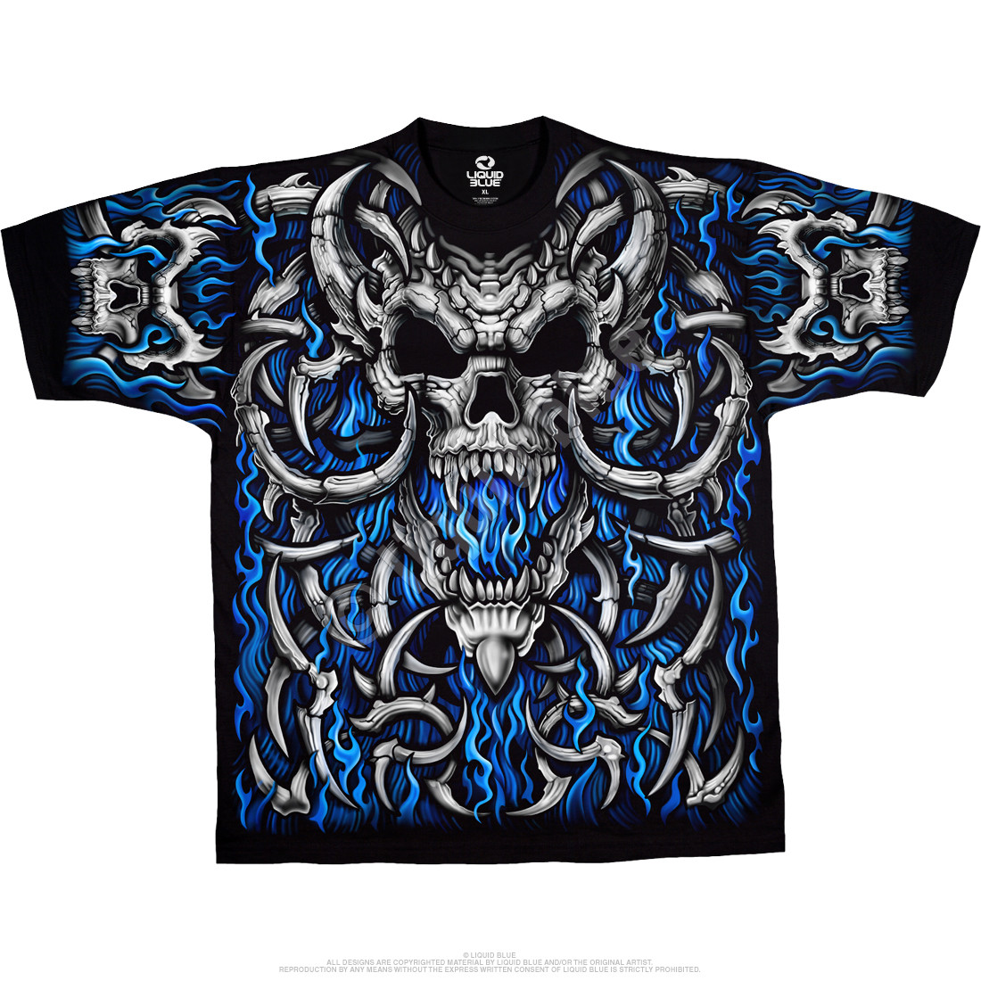 Blue Flame Skull Black T-Shirt