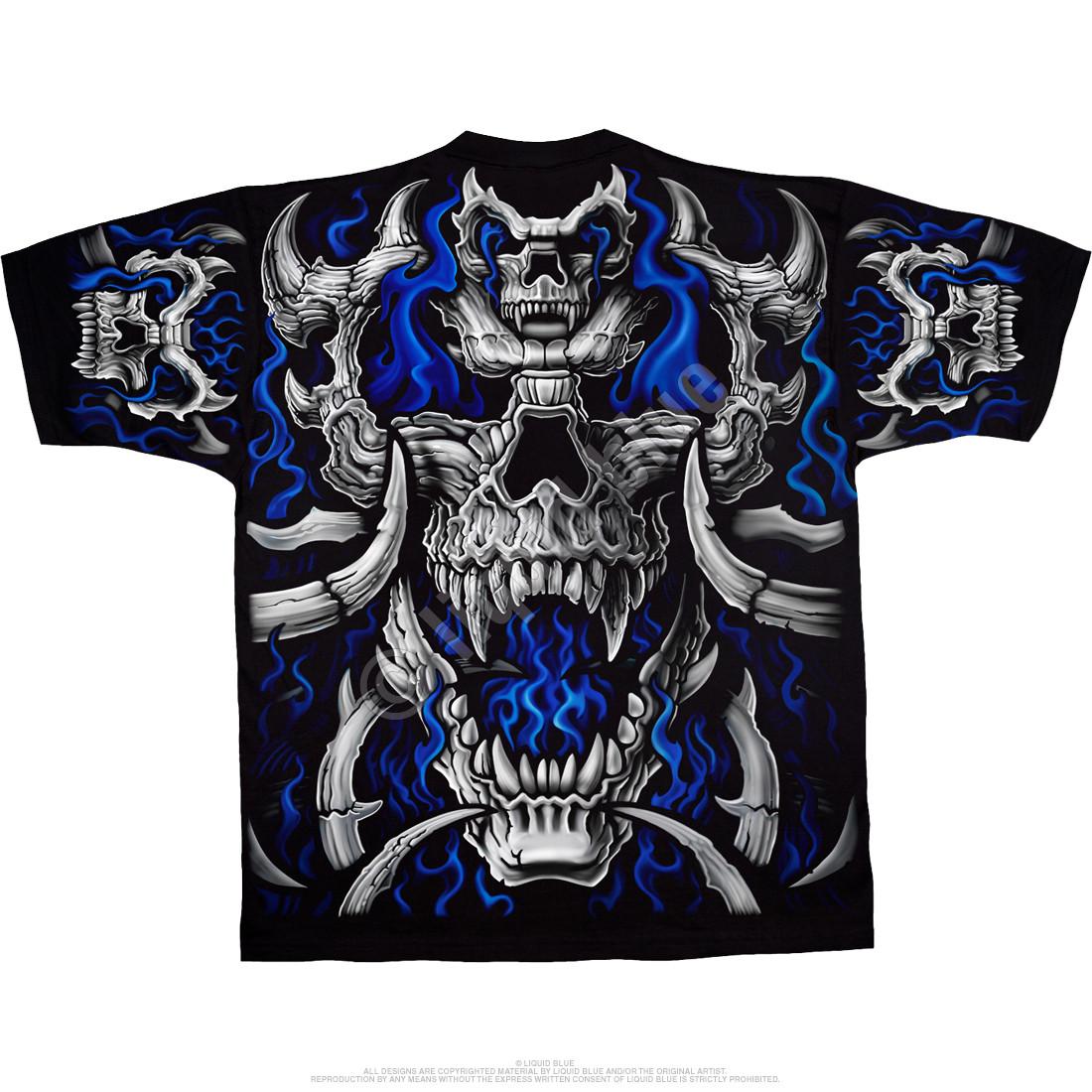 Black t shirt skull - Blue Flame Skull Black T Shirt