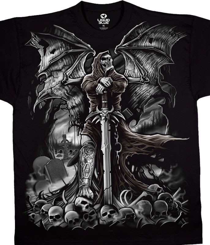 Dark Fantasy Gravestone Reaper Black T-Shirt Tee Liquid Blue