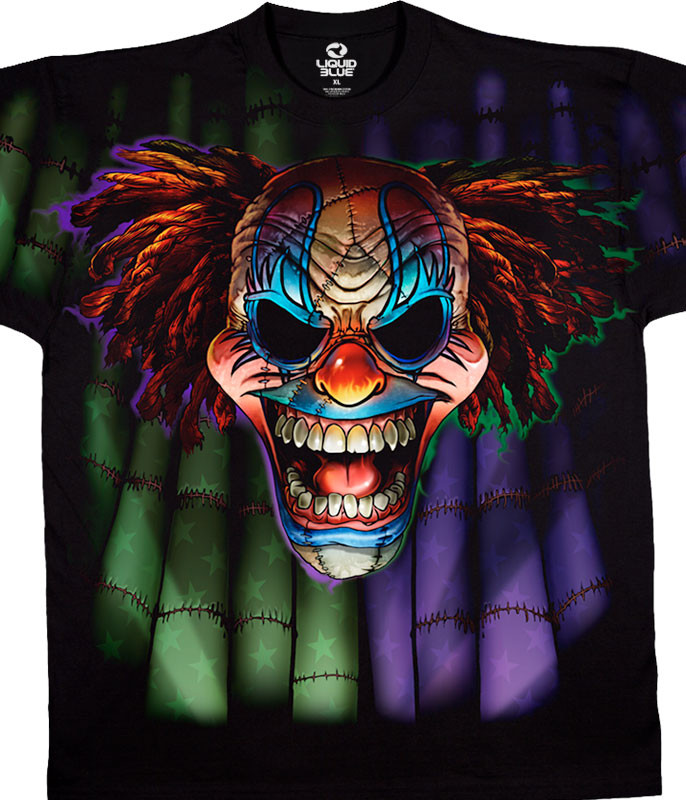 Street Life Evil Clown Black T-Shirt Tee Liquid Blue
