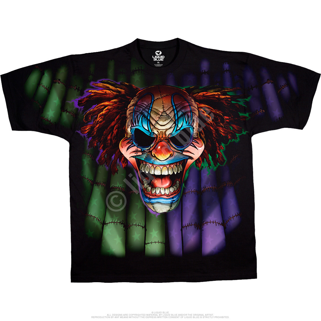 Street Life Evil Clown Black T Shirt Tee Liquid Blue