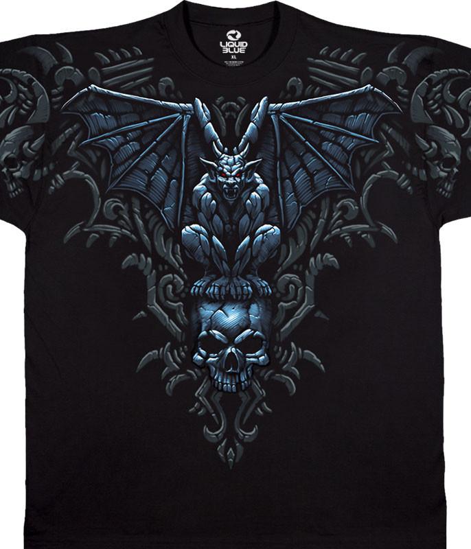 Dark Fantasy Gargoyle Skull Black T-Shirt Tee Liquid Blue
