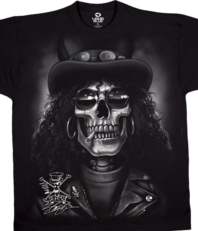 Slash Skull Black T-Shirt Tee Liquid Blue