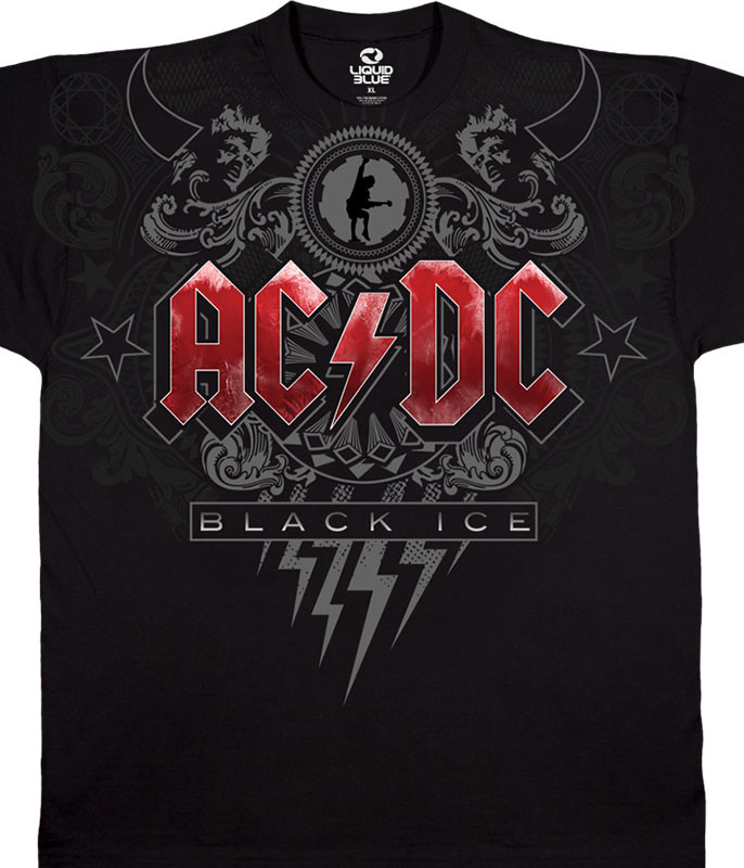 AC/DC Black Ice Black Athletic T-Shirt Tee Liquid Blue