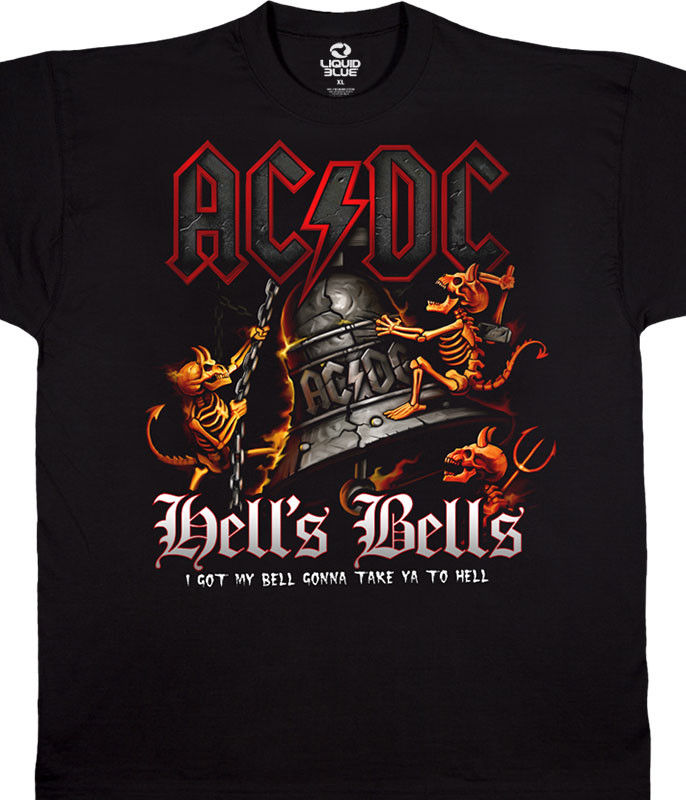 AC/DC Rolling Thunder Black T-Shirt Tee Liquid Blue