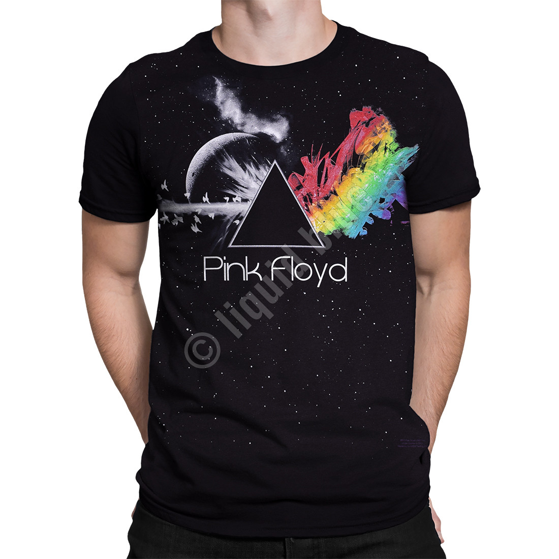 pink floyd any colour you like black athletic t shirt tee. Black Bedroom Furniture Sets. Home Design Ideas