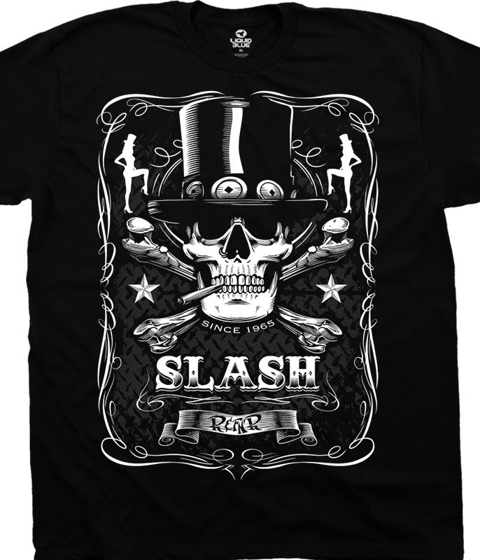 Slash Bottle Of Slash Black Athletic T-Shirt Tee Liquid Blue