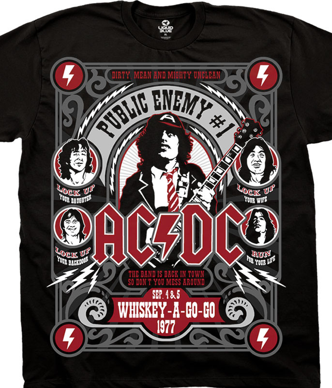 AC/DC Public Enemy Black T-Shirt Tee Liquid Blue