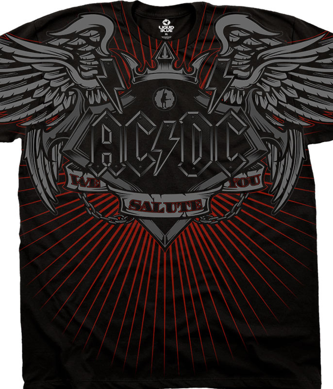 AC/DC Salute Black Athletic T-Shirt Tee Liquid Blue