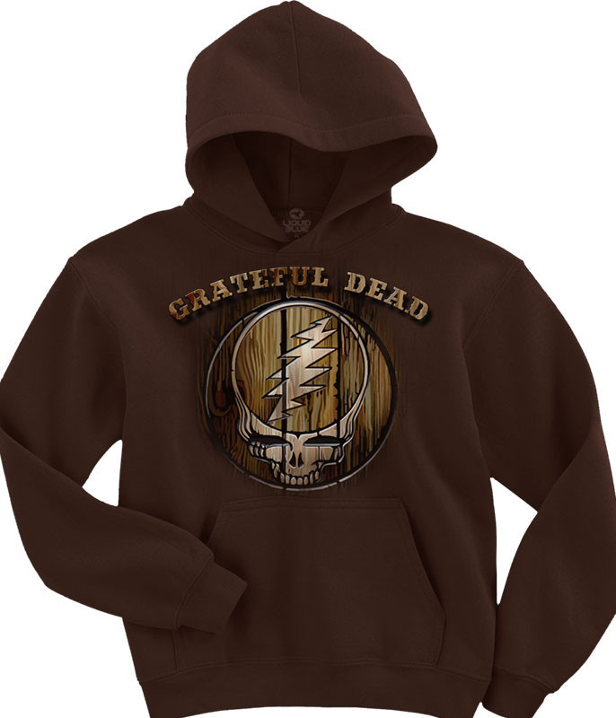 Grateful Dead Dead Brand Brown Hoodie Liquid Blue