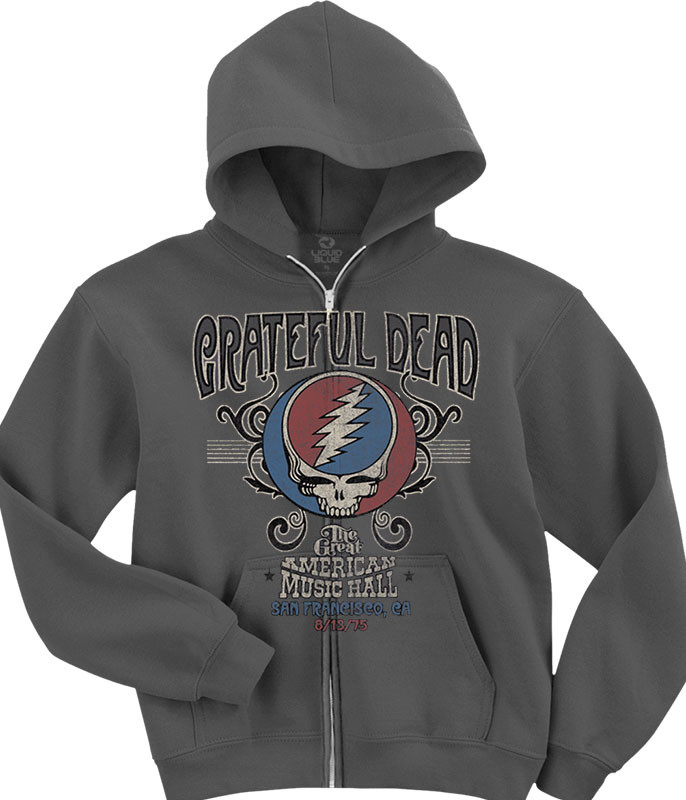 Grateful Dead American Music Hall Zipper Hoodie Grey Liquid Blue