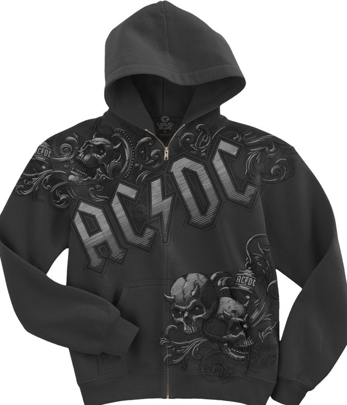 AC/DC Night Prowler Zipper Hoodie Grey Liquid Blue