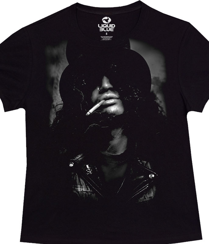 Slash Top Hat Womens Black Juniors Long Length T-Shirt