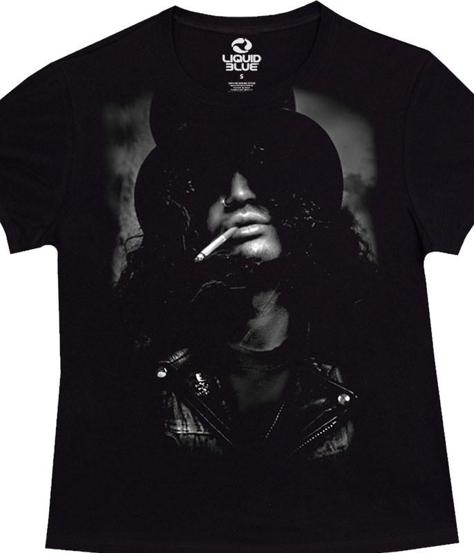 Slash Top Hat Womens Black Juniors Long Length T-Shirt Tee Liquid Blue