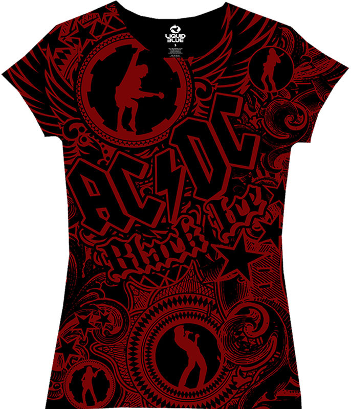AC/DC Girls Got Rythym Black Juniors Long Length T-Shirt Tee Liquid Blue