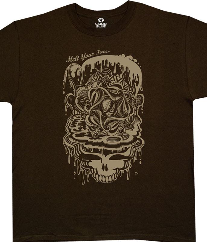 Grateful Dead Dead Melt Brown Athletic T-Shirt Tee Liquid Blue