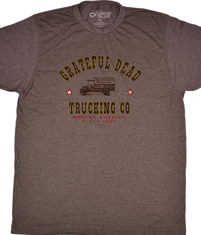 Grateful Dead GD Truckin Brown T-Shirt Tee Liquid Blue