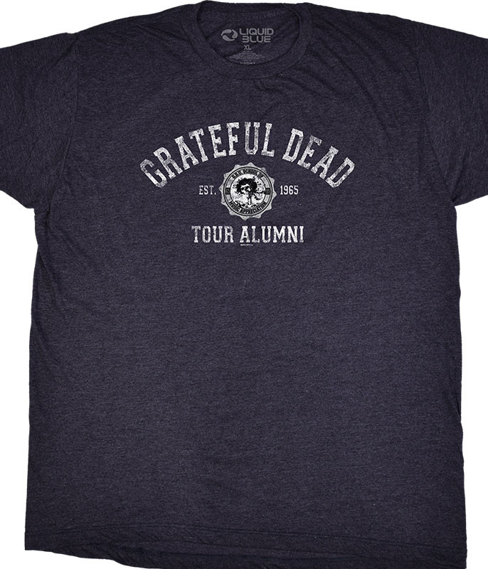 Grateful Dead GD Tour Alumni Grey Poly Cotton T-Shirt Tee Liquid Blue