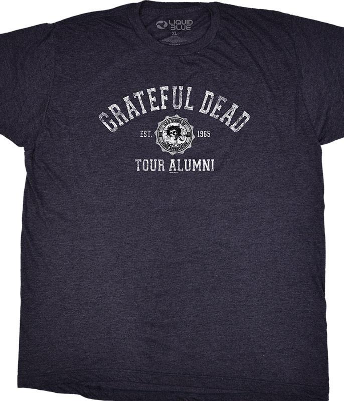 Grateful Dead GD Tour Alumni Grey Poly Cotton T-Shirt Tee Liquid Blue