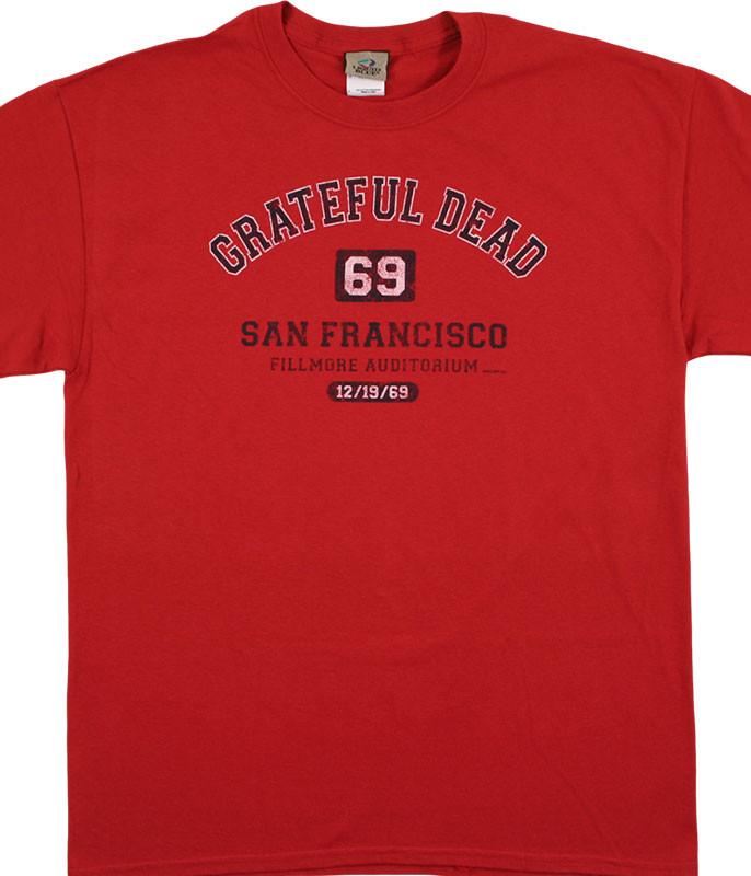 Grateful Dead San Francisco 69 Cedar Red T-Shirt Tee Liquid Blue