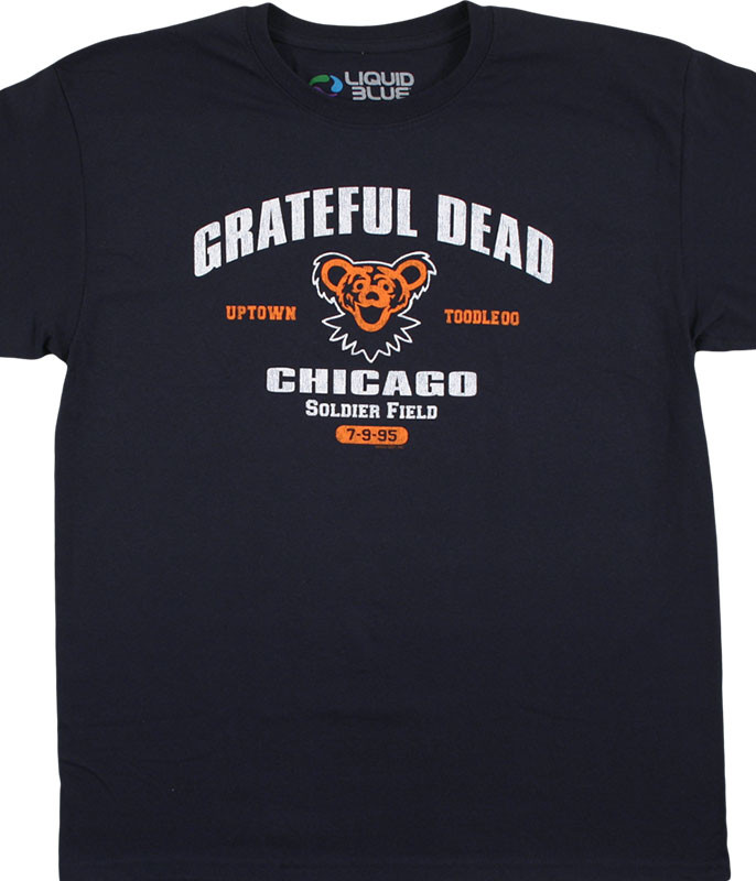 Grateful Dead Chicago 95 Navy T-Shirt Tee Liquid Blue