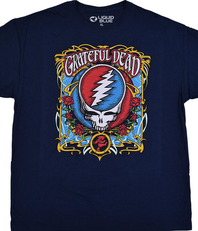 Grateful Dead Steal Your Roses Navy T-Shirt Tee Liquid Blue