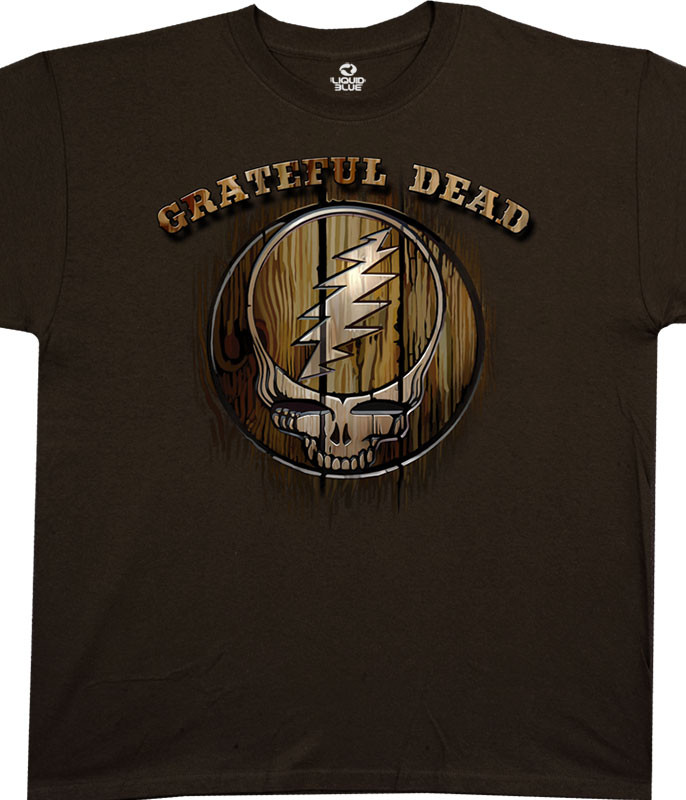 Grateful Dead Dead Brand Brown Athletic T-Shirt Tee Liquid Blue
