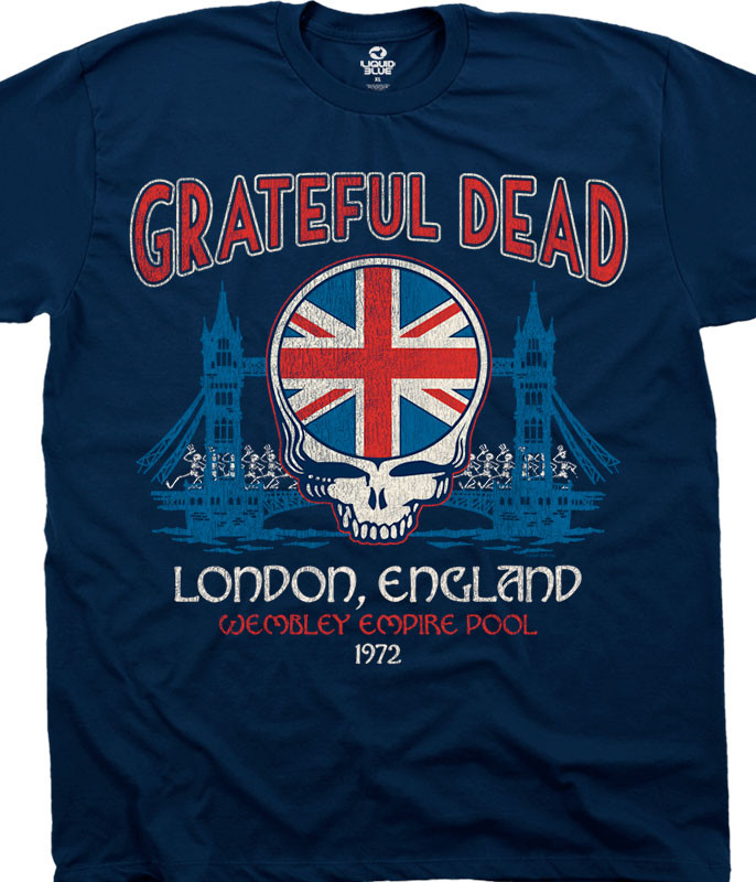 Grateful Dead Wembley Empire Pool Navy Athletic T-Shirt Tee Liquid Blue