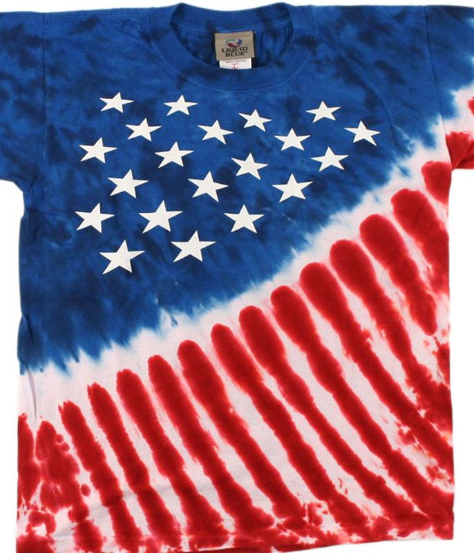 Americana Stars And Stripes Youth Tie-Dye T-Shirt Tee Liquid Blue