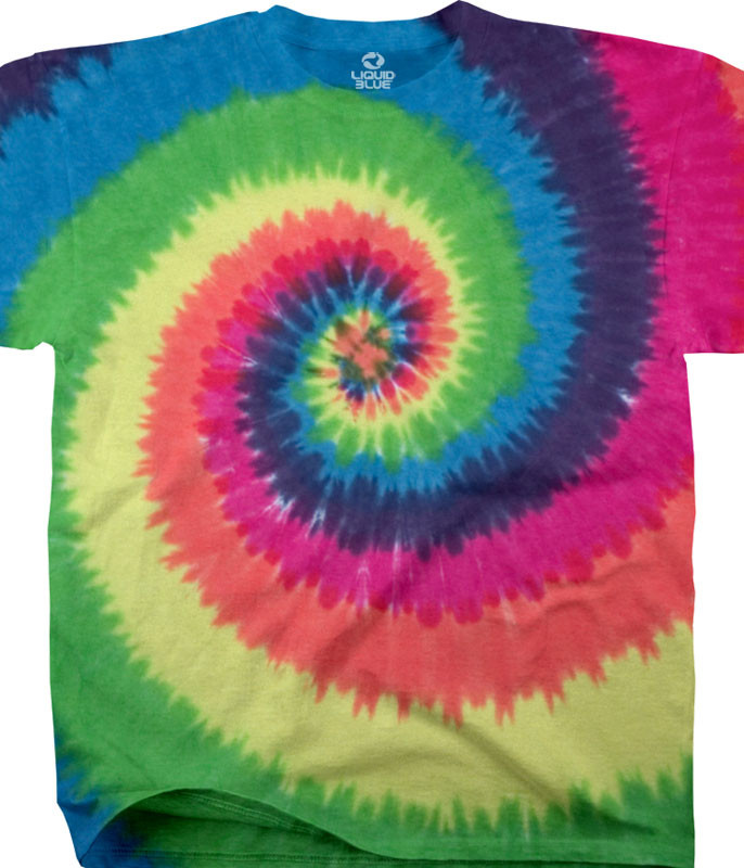 Unprinted Rainbow Spiral Youth Tie-Dye T-Shirt Tee Liquid Blue
