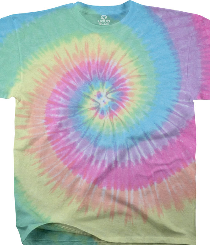 Unprinted Pastel Spiral Youth Tie-Dye T-Shirt Tee Liquid Blue