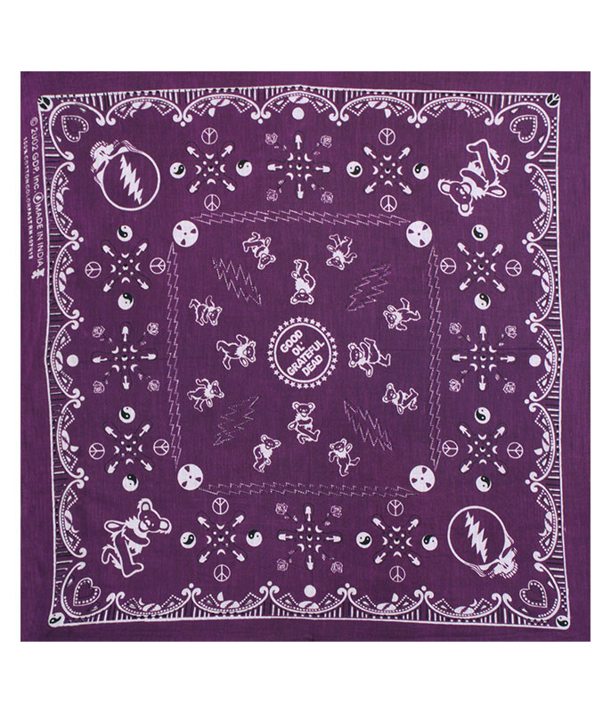 Grateful Dead Good Ol GD Purple Bandana