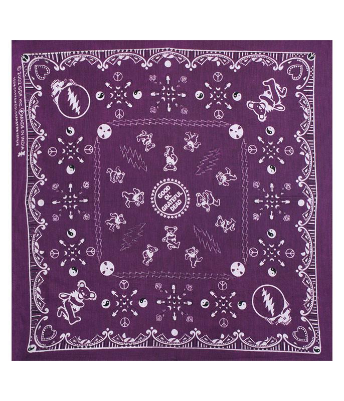Grateful Dead Good Ol GD Purple Bandana