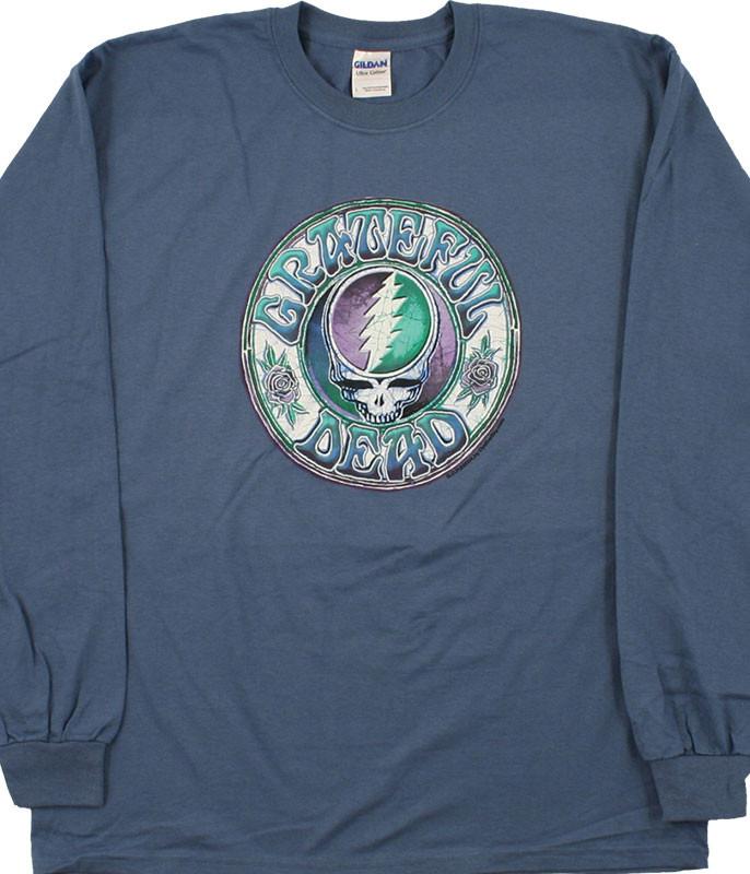 Grateful Dead Batik SYF Blue Long Sleeve T-Shirt Tee