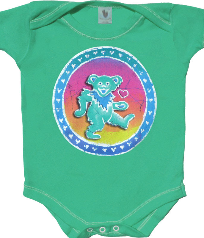 Grateful Dead Dancing Bear Green Onesie