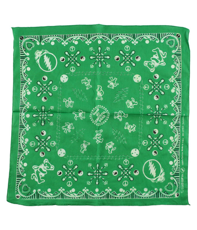 Grateful Dead Good Ol GD Green Bandana Green