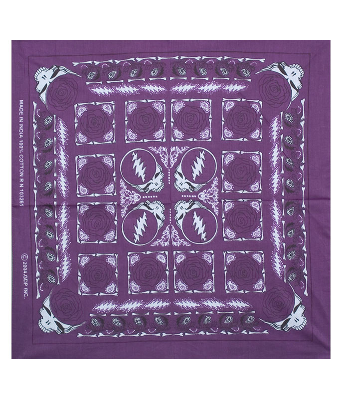 Grateful Dead GD Rose Purple Bandana